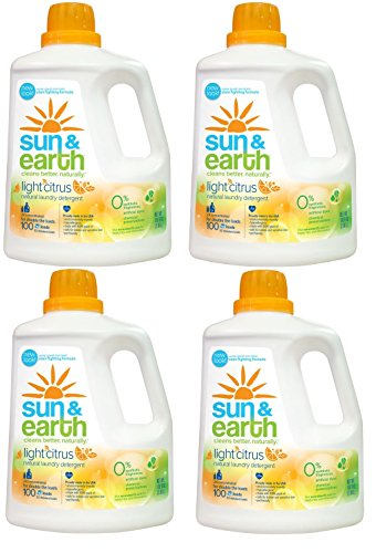 Natural Laundry Detergent - 2x Concentrated, HE Machines - Light Citrus Scent - Non-Toxic, Plant-Based, Hypoallergenic - 100 Ounce (Pack of 4)