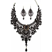 MEiySH Black Lace Gothic Lolita Pendant Choker Necklace Earrings Set