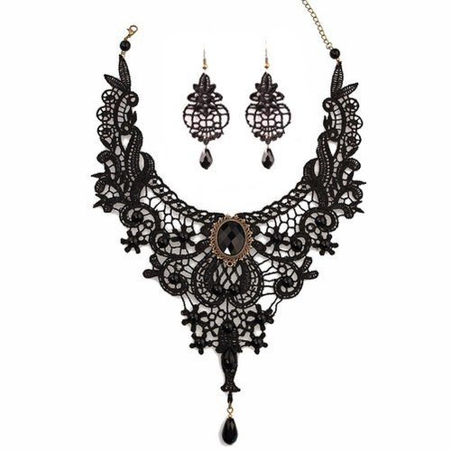 Halloween Jewelry - Meiysh Black Lace Gothic Lolita Pendant Choker Necklace Earrings Set (style 001)