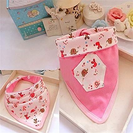 Bazaar Baberos del algodón del bebé eructar Telas de Doble triángulo de alimentación del Babero de