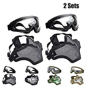 Outgeek Airsoft Half Face Mask Steel Mesh Goggles Set Halloween Xmas
