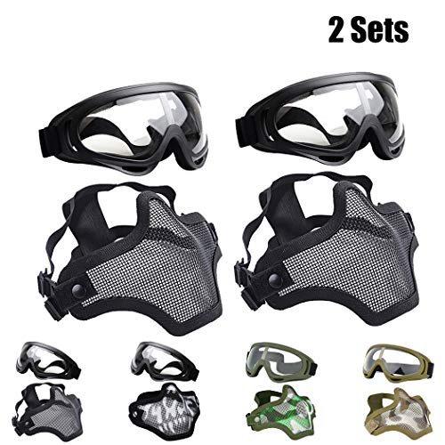 Outgeek Airsoft Half Face Mask Steel Mesh and Goggles Set for Halloween and Xmas(Skull Set) (2 Sets - Black, one Size)