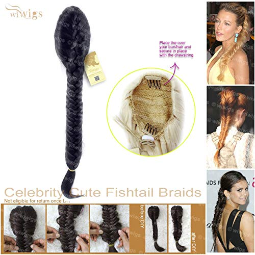 Wiwigs Celebrity Cute Off Black Fishtail Braids clip in Ponytail Plaited Hair Extensions DIY ()