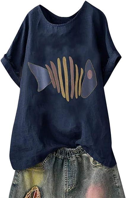 TUDUZ Blusas Mujer Manga Corta Verano Camisas Camiseta de Algodón y Lino con Estampado de Perro de Dibujos Animados: Amazon.es: Ropa y accesorios