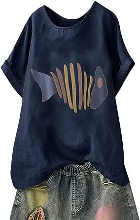 TUDUZ Blusas Mujer Manga Corta Verano Camisas Camiseta de Algodón y Lino con Estampado de Perro de Dibujos Animados