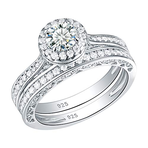 Newshe Jewellery Wedding Band Engagement Ring Set 2.4 Ct Round White Cz 925 Sterling Silver Size 9