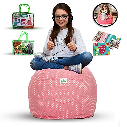 Large Stuffed Animal Storage Bean Bag Cover for Kids Room - Stuff'n sit Toys Organizer which can be used as Chair - High Quality Cotton - Store Extra Blankets & Pillow too (Pink)