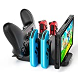 LVFAN 6 in 1 Controller Charger Dock Station for Nintendo Switch, Support 4 JoyCon and 2 NS Pro controllers to charge simultaneously, with LED Charging Indicator and Type C Charging Cable (Color: Black, Tamaño: 139 mm * 60 mm * 70 mm)