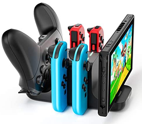 LVFAN 6 in 1 Controller Charger Dock Station for Nintendo Switch, Support 4 JoyCon and a couple of NS Pro Controllers to Charge concurrently, with LED Charging Indicator and Type C Charging Cable