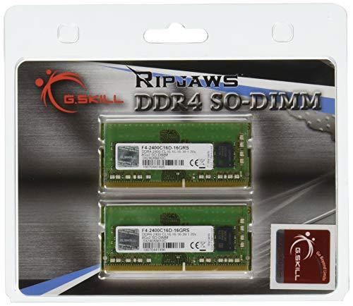 G.SKILL 16GB (2 x 8G) Ripjaws Series DDR4 PC4-19200 SO-DIMM Laptop Memory F4-2400C16D-16GRS ()