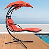 NumaWelt Hanging Chaise Lounger Chair Swing - Arc Stand Porch Hammock Chair w/Canopy (Orange)