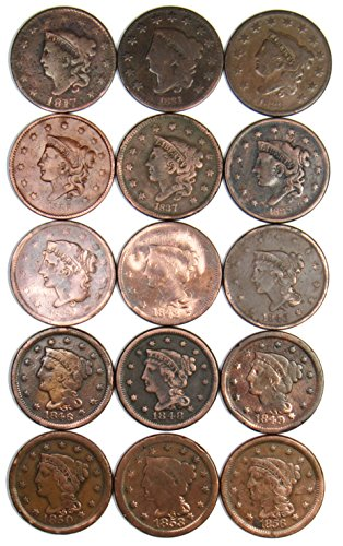 1837 Collection (Collection of 15 Large Cents - Different Dates/Grades)