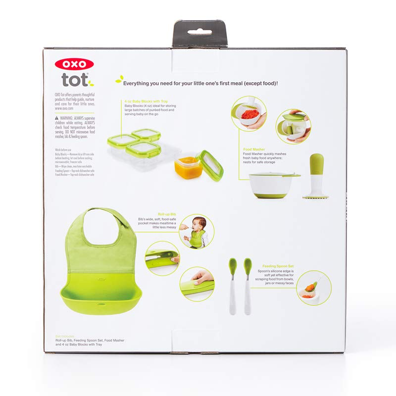 OXO Tot Mealtime Starter Value Set with Roll-up Bib, Feeding Spoons, Food Masher and Four 4oz Baby Blocks Freezer Storage Containers by OXO Tot (Image #8)