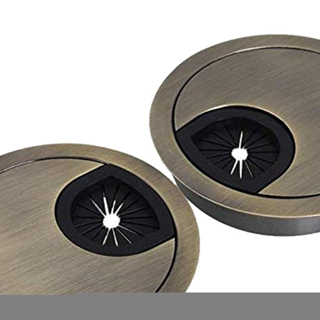 Bronze H HILABEE 2 Pi/èces 50 mm Passe-fils de C/âble de Bureau
