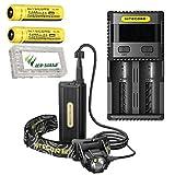 Combo: Nitecore HC70 Rechargeable 1000 Lumen Headlamp w/2x NL189 3400mAh Batteries, SC2 Charger +Free Eco-Sensa Battery Case
