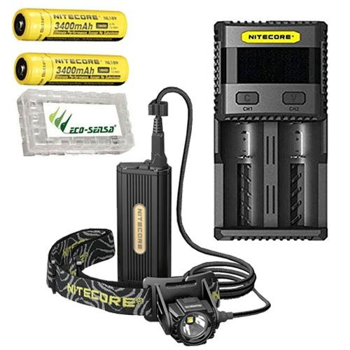 Combo: Nitecore HC70 Rechargeable 1000 Lumen Headlamp w/2x NL189 3400mAh Batteries, SC2 Charger +Free Eco-Sensa Battery Case by Nitecore (Image #9)