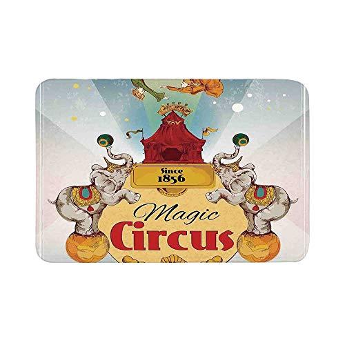 C COABALLA Circus Decor Durable Door Mat,Magic Circus Tent Show Announcement Vintage Style Aerialist Acrobat for Living Room,15.7