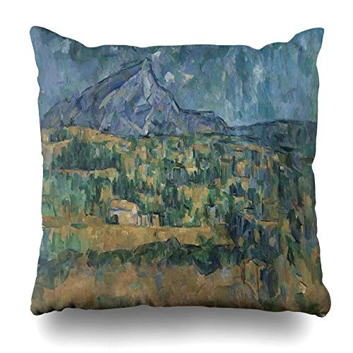 Ahawoso Throw Pillow Covers Modernism Blue Painting Mont Sainte Victoire by Impressionism Paul Cezanne 19026 Green 19Th Century Home Decor Pillow Case Square Size 16 x 16 Inches Zippered ()