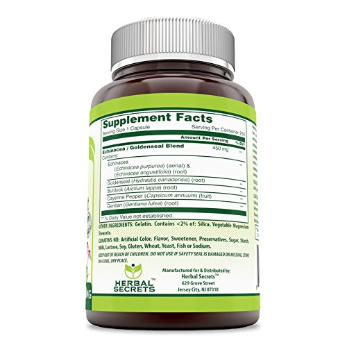 Herbal Secrets Echinacea & Goldenseal Root - 450 Mg 250 Capsules (Non-GMO) with Echinacea Purpurea, Goldenseal, Burdock Root & Cayenne Pepper Supports Healthy Immune Function and Overall Well-Being