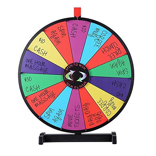 18'' Tabletop Color Dry Erase Spinning Prize Wheel 14 Slot
