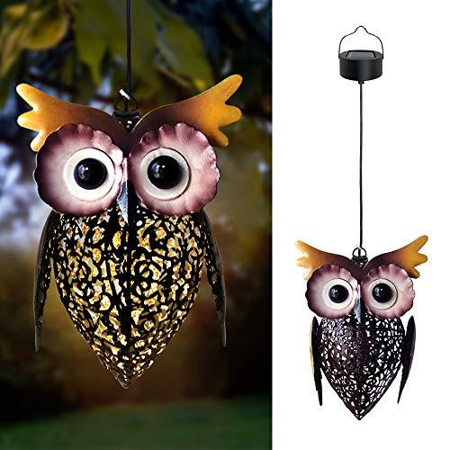 Petrala Solar Lantern Lights Hanging Outdoor Vintage Cute Owl Metal Lanterns 7 lumens Brown for Garden Patio Porch