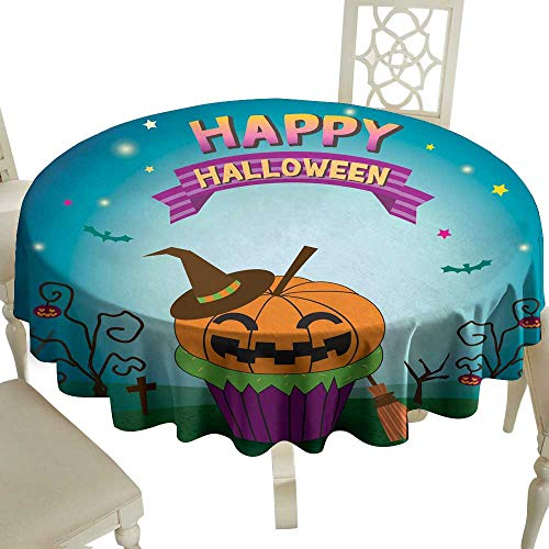 WinfreyDecor Oil-Proof and Leak-Proof Tablecloth Halloween pimpkin Cupcakes Indoor Outdoor Camping Picnic D43]()