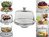 Denny International 6 IN 1 CAKE STAND CLEAR ACRYLIC DOME LID SALAD PLATE PUNCH BOWL CHIP DIP SERVER