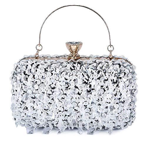 UBORSE Women Clutch Wedding Purse Rhinestone Crystal Beaded Bags Cocktail Party Bridal Prom Handbag for Women Silver