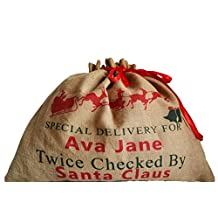 Amore Beaute Personalized Christmas Sacks for Gifts - Burlap Monogrammed Gift Bag for Kids - Custom Santa Gift Sack for Wrapping Xmas Gifts (18l X 24w Inches)