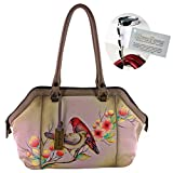Anuschka Leather Large Wide Twin Zip Satchel with Purse Hanger