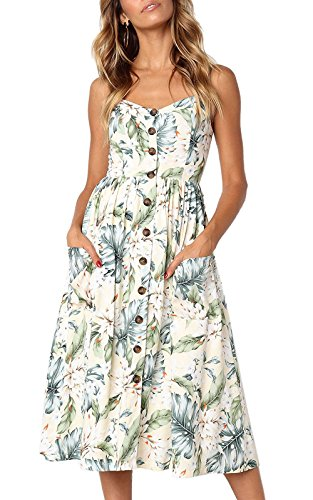 Swing Spaghetti Down Sundresses Floral Rainlover with Button Women's Z Pockets Strap 0823light Yellow Midi Bohemian RpwCqZw0