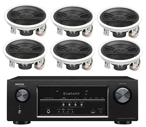 Denon 5.2 Channel 700-Watt Full 4K Ultra HD Bluetooth AV Home Theater Receiver + Yamaha High-Performance 3-Way Surround Sound in-ceiling Speaker System (Set Of 6) by Yamaha