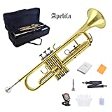 TRUMPET - Apelila Bb Key Brass Gold Lacquer with Care Case Valve+Mouthpiece+Tuner+Strap+Gloves