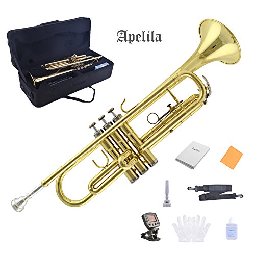 TRUMPET - Apelila Bb Key Brass Gold Lacquer with Care Case Valve+Mouthpiece+Tuner+Strap+Gloves by Apelila