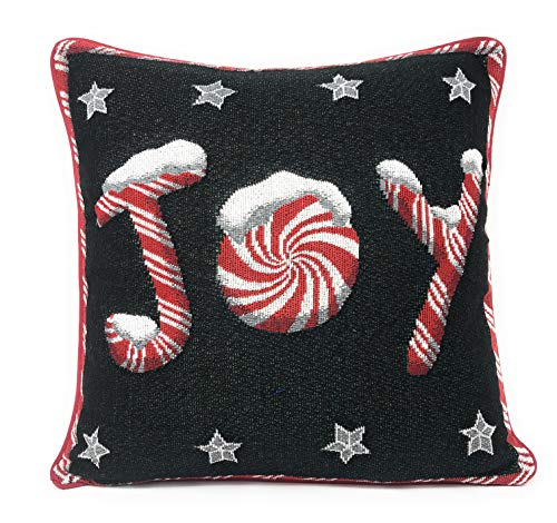 (DaDa Bedding Throw Pillow Cover - Peppermint Joy Festive Christmas Holiday Tapestry - Red Black Stars Cushion Case - 16