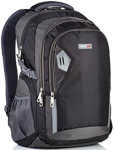 Rucksack für Herren und Damen von Camden Gear. Schulrucksack - Laptoprucksack für die Schule - Laptop - Wandern. Wasserdicht, Top mit mehreren Fächern. Schwarz und Grau