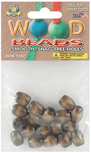 Pepperell Barrel Wood Beads, 13mm by 11mm, Walnut, 18-Pack ()