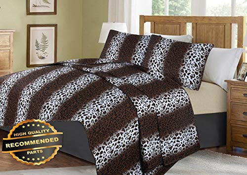 Werrox #2 Animal Brown Leopard Cheetah Quilt Set Bed Cover Bedding Quilted Bedspread King Size | Quilt Style QLTR-291267399