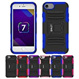 iPhone 8 Case, iPhone 7 Case, HLCT Rugged Shock Proof Dual-Layer Case with Built-In Stand Kickstand (Blue)