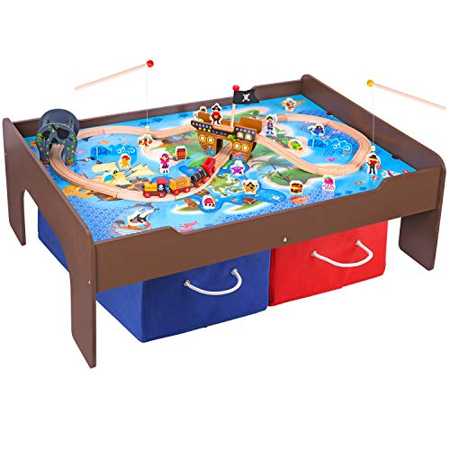 Wooden Pirate - Pidoko Kids Pirate Theme Train Table and Wooden Train Set (72 Pcs) - Espresso Table with Double Sided Board for Other Activity Play - Includes 2 Storage Bins