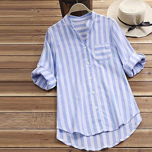 lino camicetta Casual Womens righe maniche scollo a Autunno a lunghe Fashion allentata Button formale con Inverno di Tops V Shobdw blu Donna a Camicia OZwXlPiukT