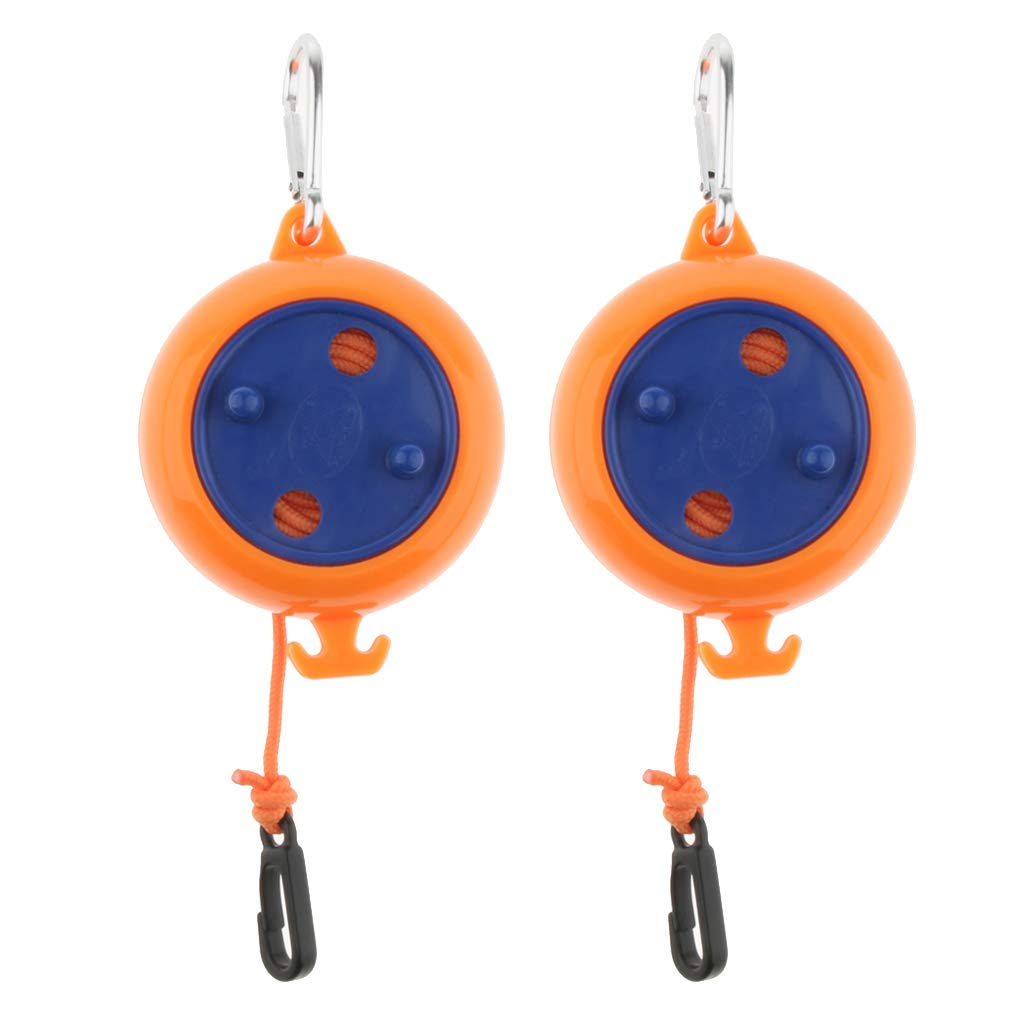SM SunniMix 2Pcs Lightweight Windproof Clothesline Outdoor Travel Retractable Rope Washing Line 8m Orange with Hanging Buckle