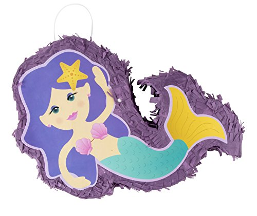 Mermaid Pinata - Kids Birthday Party Supplies for Mermaid Themed Party, Purple, 13.7 x 10 x 3 Inches by Blue Panda