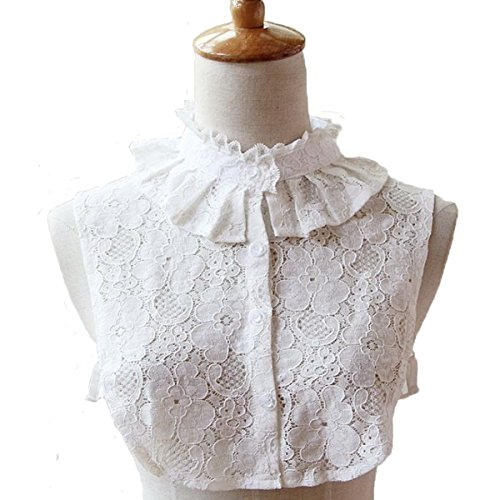 Bluefun Womens Half Shirt Lace Stand Collar Vintage Fake Shirt Collar, White