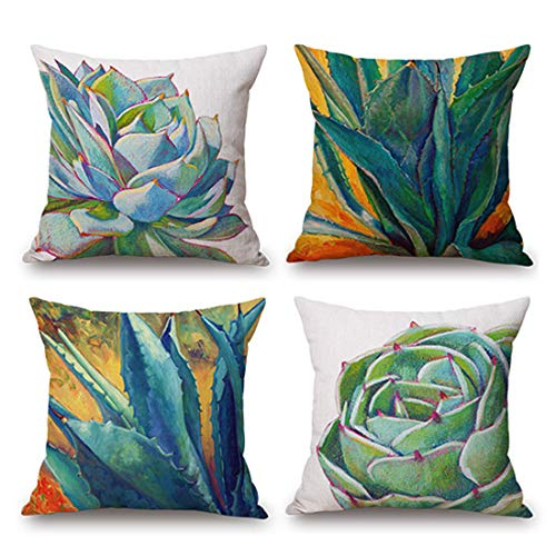 JES&MEDIS Pack of 4, Square Throw Pillow Covers Set Lace Border Cushion Cases Waist Pillowcases for Sofa Bedroom Car 12 x 30 Inch 30 x 50 cm, Blue (Covers Diy Sofa Cushion)