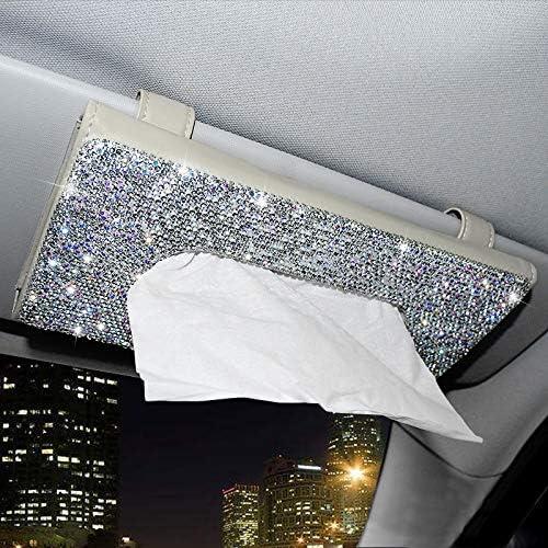 ChuLian Bling Bling Car Sun Visor Tissue Box Holder,Crystal Sparkling Napkin Holder,PU Leather Backseat Tissue Case Car Accessories for Women,Beige