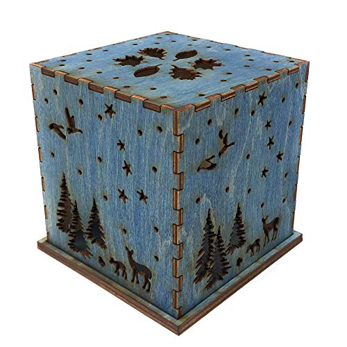 Doles Orchard Woodlands 4.5-inch Laser-Cut Luminary with LED Tealight, Blue
