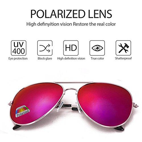 gafas Purple de caso sol UV conducción con de 4sold el 400 Protección polarizado Hombre Aviador qB1BwF