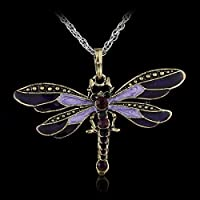 khamchanot 2017 Dragonfly Pendant Necklace Long Chain Crystal Rhinestone Wing Women Gift