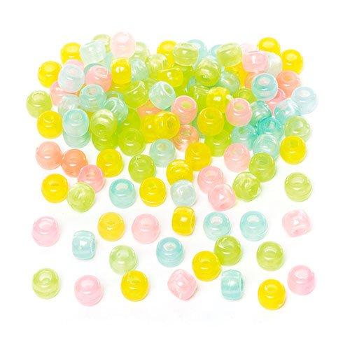 200 St/ück zum Basteln f/ür Kinder Schmuck f/ür Armb/änder und Ketten Phosphoreszierende Perlen